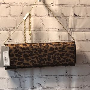 leopard faux fur clutch  NWT Apt 9